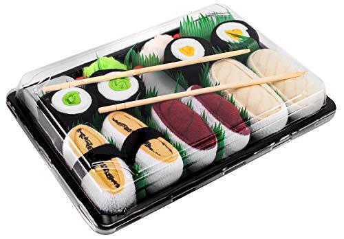 Rainbow Socks - Damen Herren - Sushi Socken Tamago Thunfisch Butterfisch 2x Maki - Lustige Geschenk - 5 Paar - Größen 41-46