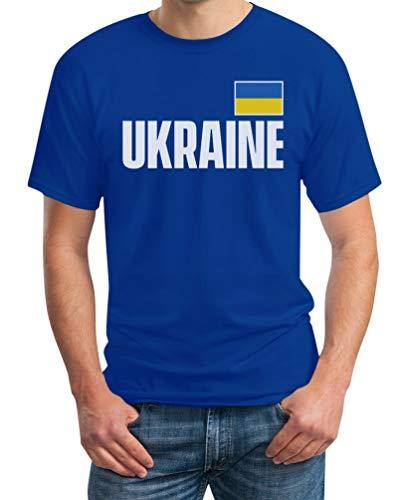 Ukraine Fußball EM Fanshirt Ukrajina Trikot Herren T-Shirt 4XL Blau