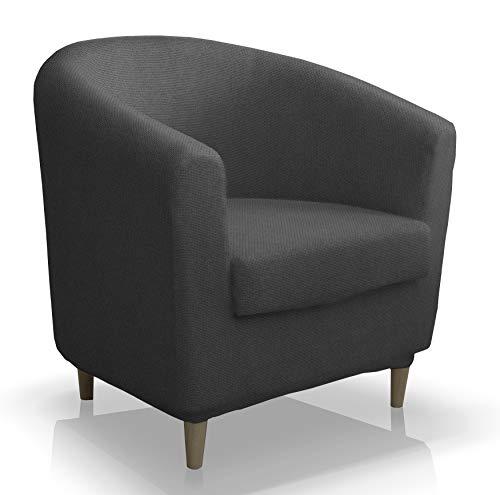 Bartali Stretchhusse Grau für IKEA-Sessel Clubsessel Tullsta Armsessel Vintage Retro Cocktailsessel Bezug