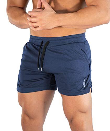 Superora Pantaloncini da Running Uomo 2 in 1 Pantalone Corto Sportivo Uomo Short Pantaloncini da Asciugatura Rapida Traspirante Outdoor (S, Blu)