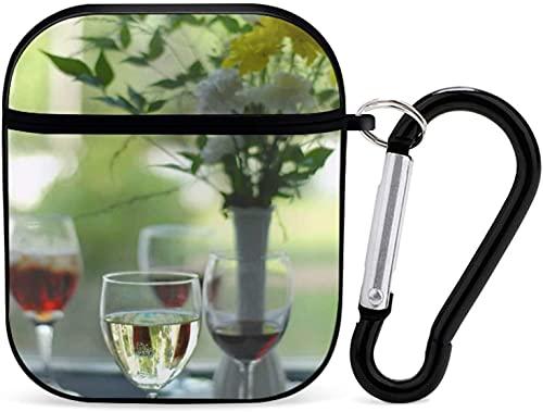 Funda para Airpod Airpods para Apple AirPods 2 y 1 funda para Airpod para niñas, accesorios de Airpods con llavero (vista cósmica durante la noche), copa de vino negro con flujo de florero