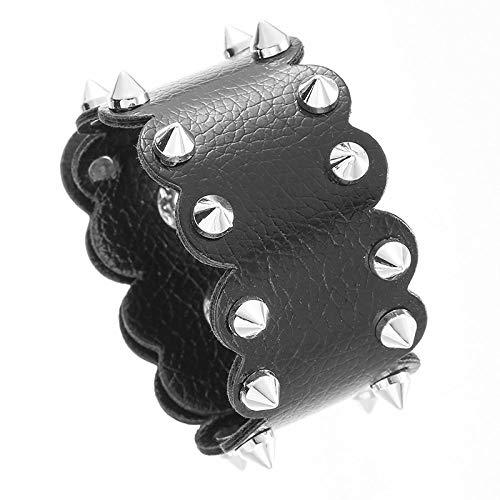 DDSCB Männer Lederarmband,Vintage Kegelnieten Schwarz Breite Lederarmbänder Mit Verstellbarer Schnalle Punk Rock Gothic Armreif Manschette Armband Für Frauen Ehemann Teenager