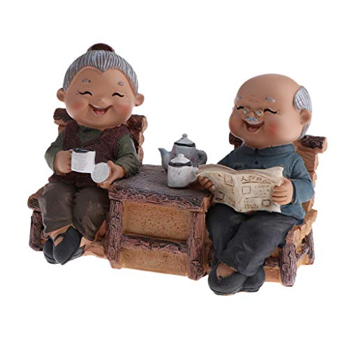Fityle Handmade Resin Craft Loving Elderly Couple Figurines Old Age Happy Life Statue Home Ornament - Read Newspaper