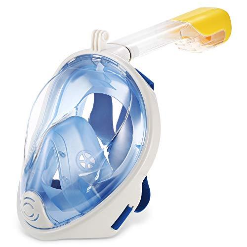 Snorkelmasker voor volwassenen 180 ° panoramisch duikmasker met volledig gezicht, afneembare camerahouder, anticondens-spiegel, anti-lek, comfortabele patch en gezichtsduik, zwemmen, buiten