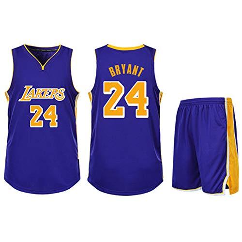 QYAD James # 23 Bryant # 24 Laker Herren Basketball Trikot, Unisex Erwachsenen Jugend General Basketball Tops Turnschuhe Trikots Team Spiel Uniformen- Purple 3-XL