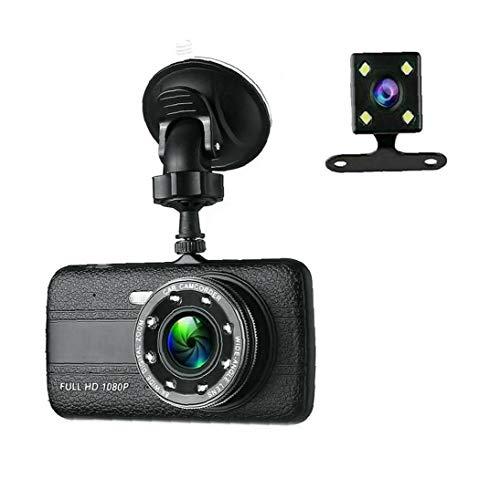 EElabper Dash cámara de la Leva para los Coches de conducción del vehículo Coche DVR cámara de Doble Lente G-Sensor de Alta Definición 1080p Negro