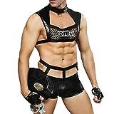 WSLCN Erotische Kostüme für Herren Sexy Nachtclub Roleplay Dessous Sets Schwarz A OneSize-Geeignet...