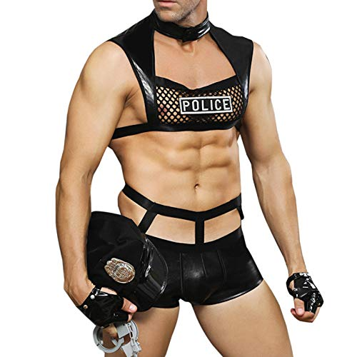 WSLCN Erotische Kostüme für Herren Sexy Nachtclub Roleplay Dessous Sets Schwarz A OneSize-Geeignet für Gewicht unter 75 kg