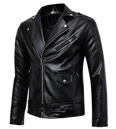 Men's Classic Police Style Faux Leather Motorcycle Jacket (Y012, L) Black