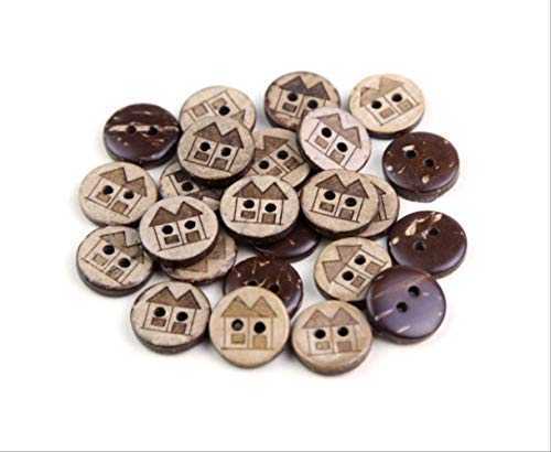 Bottoni a forma di casetta in noce di cocco, 12 mm, confezione da 50 pezzi