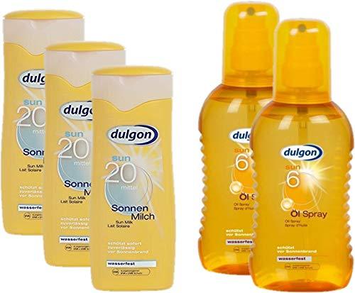 dulgon Sonnencreme Sparset Urlaubspack 3xLSF20 Sonnenmilch 250ml + 2xLSF6 Öl-Spray 200ml, wasserfest