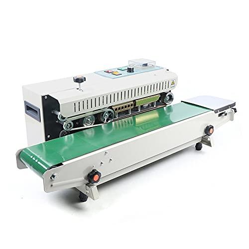 Máquina selladora automática FR-900 de 220 V. La mesa transportadora se puede ajustar hacia arriba y hacia abajo. El panel de control es sencillo (horizontal)