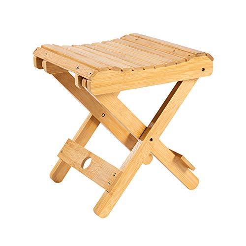 JIESD-Z Taburete plegable de bambú, portátil, plegable para ducha, reposapiés de jardín, taburete decorativo para plantas, silla de baño pequeña para adultos y niños