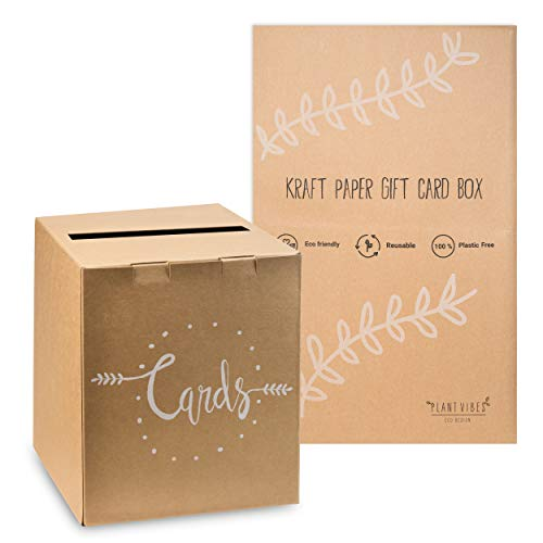Plantvibes Kartenbox aus Kraftpapier im Vintage Style, 100{f50eb7e4d1d5afb5484eb0bef760d4176df833ad7dbde60450686bd512bfa2cc} kompostierbar & CO2-neutral, Briefbox für Karten & Geldgeschenke für die Hochzeit, Geschenkkartenbox