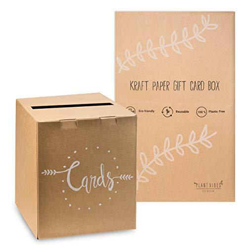 Plantvibes Kartenbox aus Kraftpapier im Vintage Style, 100% kompostierbar & CO2-neutral, Briefbox für Karten & Geldgeschenke für die Hochzeit, Geschenkkartenbox