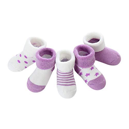 DEBAIJIA Paquete de calcetines de algodón conjunto bebés del niño de 7-10 años transpirable precioso para Niñas Estrella-M (1-3 años) 5 Pares-grueso-púrpura
