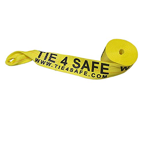 """Mega Cargo Control (1 - Pack 4"""" x 30' Heavy Duty Twisted Loop Winch Strap Tie Down for Motorcycle, Cargo, Trucks (Yellow)"""