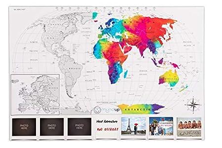 MU MUNDIUP Póster Mapa Mundi Rascar, Set 2 en 1 de Europa y del Mundo, Color Plata y Transparente, gran tamaño 82.6x57.8 cm, Regalo Original para Viajeros con bloc notas y fotos