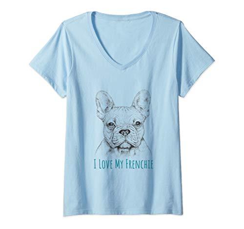 Womens I love My Frenchie graphic - French Bulldog V-Neck T-Shirt