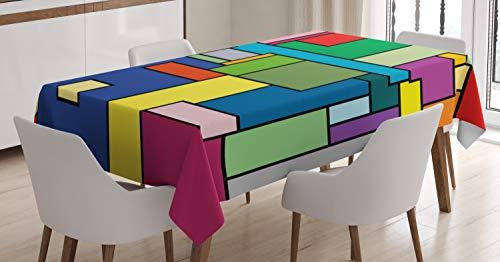 ABAKUHAUS Arte Mantele, Cuadrados Mondrian Vivos, Estampado con la Última Tecnología Lavable Colores Firmes, 140 x 200 cm, Multicolor