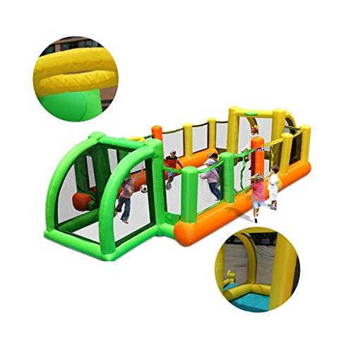 DSHUJC Inflatables Hüpfburgen Fußball Kinder Rutsche im Freien Home Square Hüpfbett Geeignet für Schwimmbad Spielplatz (Gelb, 133 * 314 * 70,8 Zoll)