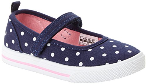 Simple Joys by Carter's Baby Girls' Indie Casual (Slip-on Shoe with a Velcro Strap) Mary Jane Flat, Navy, 10 M US Toddler
