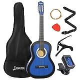 LAGRIMA 38 inch 4/4 Size Beginner Acoustic Guitar Set, Starter Kit with Gig Bag, Capo, Strap, Tuner,...