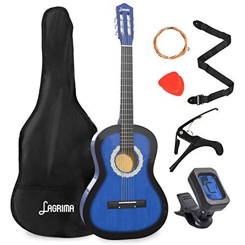 LAGRIMA 38 inch 4/4 Size Beginner Acoustic Guitar Set, Starter Kit with Gig Bag, Capo, Strap, Tuner, Picks & Steel Strings for Kids/Beginners/Adults (Blue)