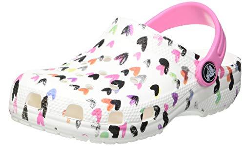 Crocs Unisex - Bambini Classic Heart Print Clog, White, 30-31