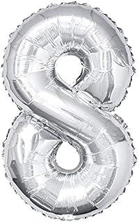 بالونات فضية على شكل ارقام لتزيين الحفلات، مصنوعة من الرقائق المعدنية ومناسبة لاعياد الميلاد وحفلات الزفاف (على شكل رقم 8)...