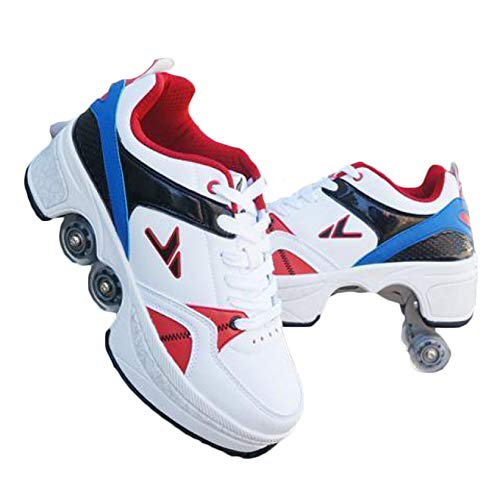 GGOODD Zapatos con Ruedas para Adultos 4 Ruedas Patines de Ruedas Patines de Dos Hileras para Hombres Mujeres Automática De Skate Zapatillas Zapato de Rodillo de Patada Regalo