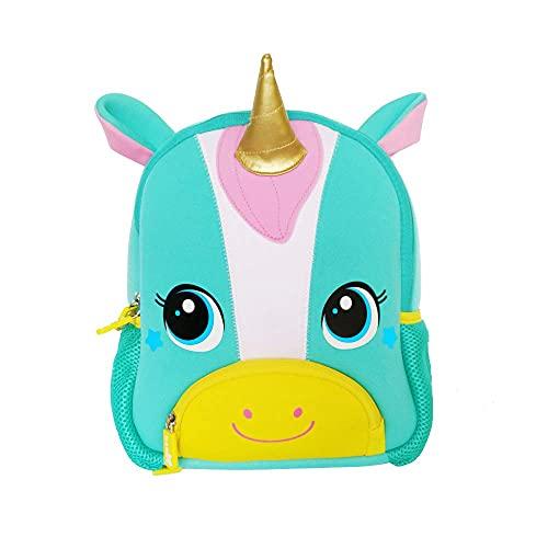NOHOO Toddler Backpack Toddler Bag Waterproof Animal Cartoon Mini Travel Bag for Baby Girl Boy (Blue Unicorn)