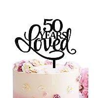周年50周年ケーキトッパー、黒50周年ケーキトッパー