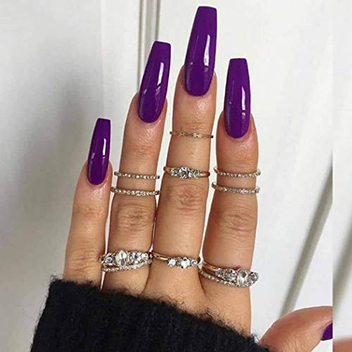 Favelo Coffin Long Press on Nails Purple Ballerina Fake Nails Glossy Full Cover False Nails Artificial Arylic Accessories for Women and Girls(24pcs) (purple)