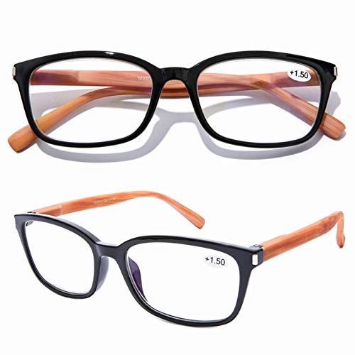 DOOViC Blaulichtfilter Computer Lesebrille Schwarze/Rechteckig Rahmen Federscharnier Bambus Mustern Büegel Brille mit Stärke für Herren/Damen 2,0