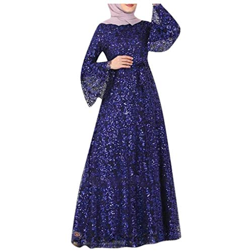 Islamisches Muslimisches Kleid der Frauen Langarm Spitze Kleid,Große Größen Paillettenkleid Ethnischer Stil Langes Kleid Glitzerkleid Ballkleider Abendkleid URIBAKY