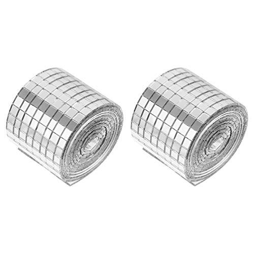 HEALLILY 2 rollos adhesivos de mosaico de azulejos de cristal espejo mosaico adhesivo DIY pared adhesivo