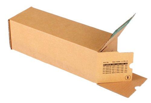 progressPACK Universalversandhülse Premium PP LB10.01 aus Wellpappe, DIN A3, 315 x 105 x 105 mm, 10-er Pack, braun
