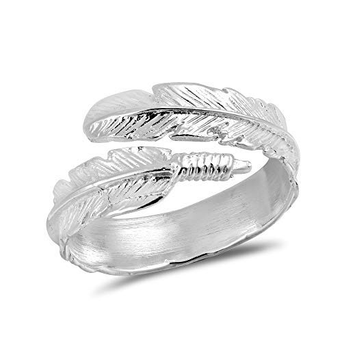 kuou Feather Ring, Angel Ring 925 Sterling Silver Angel Wing Rings Adjustable Rings for Women Gift Boxed