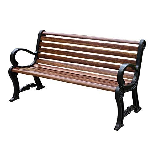 Guard Patio-Gartenbank Im Freien, 3-Sitzer Wetterfeste Parkbank Mit/Ohne Rückenlehne, Metallstahlrahmen Und Korrosionsschutz-GFK-Sitz