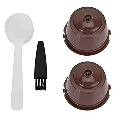 Reusable Refillable Coffee Capsule Pod Filter Cups Set with Spoon Brush Eco Friendly Stainless Steel Mesh Filter Suitable for Dolce Gusto Mini Me Piccolo Genio Esperta Circolo Coffee Machine