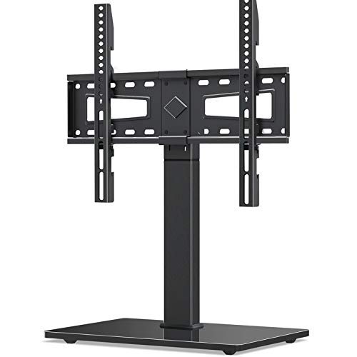 Universal TV Stand, Swivel TV Stand Base Fits Most 37 to 70 Inch LCD LED Screens, 9 Levels Height Adjustable Table Top TV Stand with Tempered Glass Base, Holds up to 88lbs, Max VESA 600x400mm