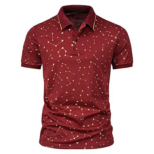 T-Shirt Hombre Estiramiento Estampado Moda Verano Hombre Shirt Ocio Tapeta con Botones Transpirable Hombre Polo Manga Corta Golf Deporte Al Aire Libre Negocios Hombre Shirt E-Red 1 3XL