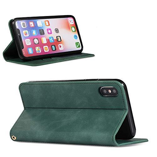 ZXMDP Estuche para teléfono con Tapa magnética de Lujo para iPhone 12 Pro 11 Pro MAX XR X 6S 7 8Plus, Verde Militar, para iPhone 6