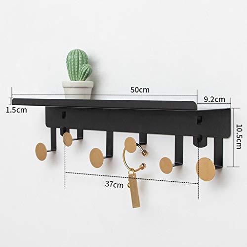 HHGO metalen kapstok wandmontage met legplank, modern decoratief badkamer-deur-keuken-wandrek, zonder boren, kledinghaken voor het ophangen van kleding, sleutel, handdoek