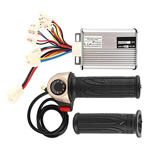 Alomejor Juego de Controladores de Scooter eléctrico con Acelerador, Controlador de Velocidad sin escobillas de 48 V 1000 W y manijas giratorias de Bicicleta eléctrica