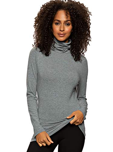 Felina | Long Sleeve Cotton Modal Turtleneck | Base Layer (Medium Heather Gray, X-Large)