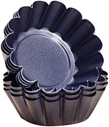Tong Gu Pack of 12 Mini Carbon Steel Tart Pans Nonstick Flower Shape Egg Tart Molds Muffin Cake product image