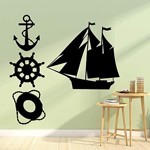 wopiaol Exquisite Schiff dekorative Vinyl Wandaufkleber Wandaufkleber für Kinderzimmer Wandkunst Aufkleber Wallpaper M.