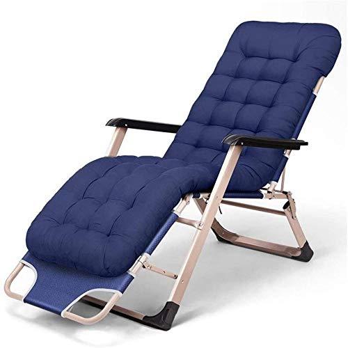 Cómodas sillas de patio, tumbonas para personas pesadas, al aire libre, playa, campamento, silla portátil plegable con cojín, apoyo 200 kg, color azul